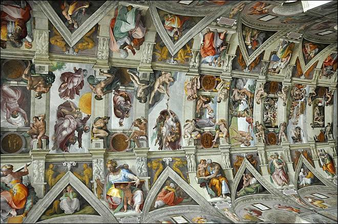 La chapelle sixtine - Fresque du plafond de la chapelle sixtine ...